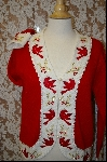 "MBA #7993   ""StoryBook Knits Limited Edition ""Red"" Bird & White Sweater"