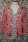 "MBA #7998  ""StoryBook Knits Limited Edition Peach Floral Fringed Sweater"