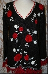 "Item MBA #8004   ""StoryBook Knits Limited Edition Black & Red  Rose Sweater"