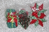 "**MBAMG #11-0675  ""Set Of 6 Hand Quilted Christmas Ornaments"""