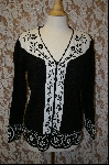 "MBA #7939   ""StoryBook Knits Limited Edition Black & White Floral Sweater"