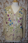"MBA #7934  ""StoryBook Knits Limited Edition Tan Floral Dragonfly Sweater"