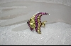 "MBA #CW-RAP  ""Charles Winston Created Ruby and Yellow Cz Angel Fish Pin"