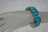 "**MBATQ #1-1107  ""Artist Signed Fancy Blue Turquoise Stone Cuff Bracelet"""