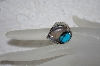 "**MBATQ #1-1149  ""Blue Turquoise & Bear Claw Ring"""