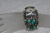 "**MBATQ #2-090  ""Large Artist Signed Green Turquoise Cuff Style Watch"""