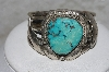 "**MBATQ #3-028  ""Artist Stamped Blue Turquoise Cuff Bracelet"""
