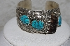 "**MBATQ #3-032  ""Artist Signed Fancy Badger Claw & Blue Turquoise Cuff Bracelet"""