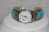 "**MBATQ#3-077  ""Artist Signed Blue Turquoise Cuff Watch"""