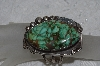 "**MBATQ #3-198  ""Fancy Artist Signed Green Turquoise Cuff Bracelet"""