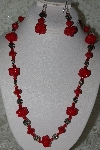 "MBAHB #27-264  ""One Of A Kind Red Bead & German Silver Flower Bead Necklace & Earring Set"""