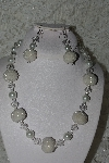 "MBAHB #27-254  ""One Of A Kind White Glass Pearl. Clear Crystal & Seed Bead Cluster Necklace & Earring Set"""