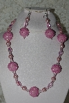 "MBAHB #27-244  ""One Of A Kind Pink Glass Pearl,Pink Crystal & Pink Seed Bead Cluster Necklace & Earring Set"""