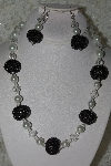"MBAHB #27-239  ""One Of A Kind White Glass Pearl, Faceted Clear Crystal & Black Glass Seed Bead Cluster Necklace & Earring Set"""