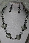 "MBAHB #27-224  ""One Of A Kind Grey Crystal, Black Onyx & Silver Glass Seed Bead Cluster Necklace & Earring Set"""