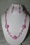 "MBAHB #27-217  ""One Of A Kind Pink Glass Flower Bead,Pink Crystal,Pink Glass Pearl & Pink Glass Seed Bead Culuter Bead Necklace & Earring Set"""