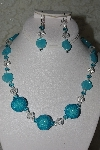 "MBAHB #27-207  ""One Of A Kind Fancy Blue Glass Flower, Clear Crystal, Blue Crystal & Blue Seed Bead Cluster Bead Necklace & Earring Set"""