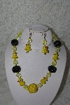 "MBAHB #27-009  ""Fancy Yellow Glass, Glass Ducks & Yellow & Black Bead Necklace & Earring Set"""