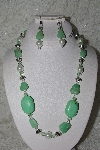 "MBAHB #27-013  ""One Of A Kind Green Gemstone,White Glass Pearls & German Silver Fancy Bead Necklace & Earring Set"""