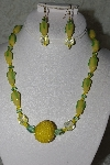 "MBAHB #27-042  ""One Of A Kind Yellow Glass & Crystal Bead Necklace & Earring Set"""
