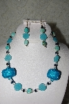 "MBAHB #27-046  ""One Of A Kind Blue Bead, Crystal & Turquoise Necklace & Earring Set"""