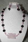 "MBAHB #27-059  ""One OF A Kind Black & Pink Bead & Gemstone Necklace & Earring Set"""