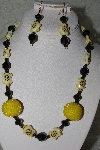 "MBAHB #27-069  ""One Of A Kind Black & Yellow Bead Necklace & Earring Set"""