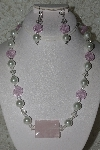 "MBAHB #27-075  ""One OF A Kind Pink White Bead Necklace & Earring Set"""