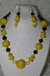 "MBAHB #27-085  ""One Of A Kind Yellow & Black Duck Bead Necklace & Earring Set"""
