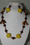 "MBAHB #27-090  ""One Of A Kind Brown Bead Dolphin Necklace & Earring Set"""