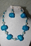 "MBAHB #27-095  ""One Of A Kind Blue & White Bead Necklace & Earring Set"""