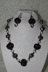 "MBAHB #27-105  ""One Of A Kind Crystal,Silver & Black Bead Necklace & Earring Set"""