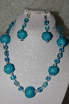 "MBAHB #27-111  ""One Of A Kind Blue Glass Bead Necklace & Earring Set"""