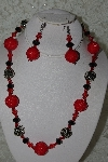 "MBAHB #27-116  ""One Of A Kind Red & Black Bead Necklace & Earring Set"""