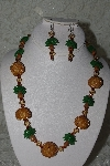 "MBAHB #27-146  ""One Of A Kind Gold Bead Palm Tree Necklace & Earring Set"""