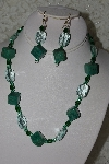 "MBAHB #27-151  ""One Of A Kind Green Bead,Crystal & Gemstone Necklace & Earring Set"""