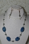 "MBAHB #27-156  ""One Of A Kind Crystal,Glass Pearl & Lapis Gemstone Necklace & Earring Set"""