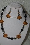 MBAHB #27-162  One Of A Kind Black & Gold Bead Necklace & Earring Set""