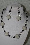 "MBAHB #27-167  ""One Of A Kind White & Black Bead Necklace & Earring Set"""