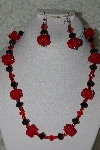 "MBAHB #27-177  ""Black & Red Crystal Bead Necklace & Earring Set"""