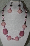 "MBAHB #27-182  ""One Of A Kind Pink Bead,Crystal & Gemstne Necklace & Earrings Set"""