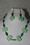 "MBAHB #27-202  ""One Of A Kind Green Bead Necklace & Earring Set"""
