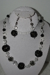 "MBAHB #003-001  ""One Of A Kind Hand Made Bead Black & Clear Necklace & Earring Set"""