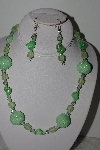 "MBAHB #003-012  ""One Of A Kind Green Bead Necklace & Earring Set"""