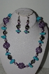 "MBAHB #003-017  ""One Of A Kind Purple Bead & Turquoise Neklace & Earring Set"""