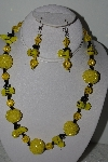 "MBAHB #003-022  ""One Of A Kind Yellow Glass Bead Bee Necklace & Earring Set"""