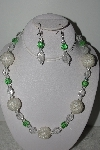 "MBAHB #003-033  ""One Of A Kind Green Glass & Crystal Quartz Necklace & Earring Set"""