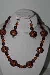 "MBAHB #003-038  ""One Of A Kind Brown Bead & Crystal Necklace & Earring Set"""