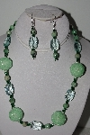 "MBAHB #003-043  ""One Of A Kind Green Glass & Gemstone Bead Necklace & Earring Set"""