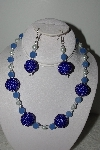 "MBAHB #003-048  ""One Of A Kind Blue Bead & Glass Pearl Necklace & Earring Set"""